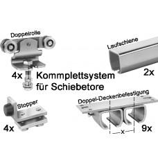 Bausatz Schiebetor bis 400 kg Doppel-Deckenbefestigung mit/ohne Abstand 6m